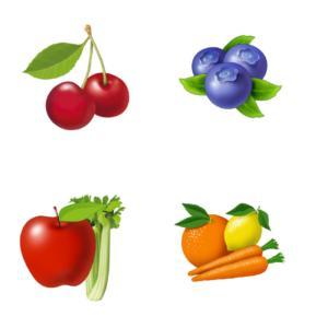 illustrazioni minimali frutta e verdura