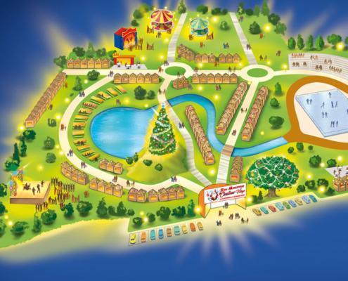 Mappa illustrata christmas village sarno