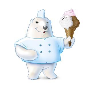 mascotte orso gelataio