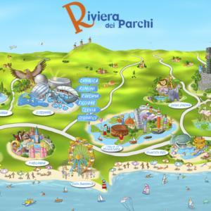 Mappa illustrata Riviera dei Parchi