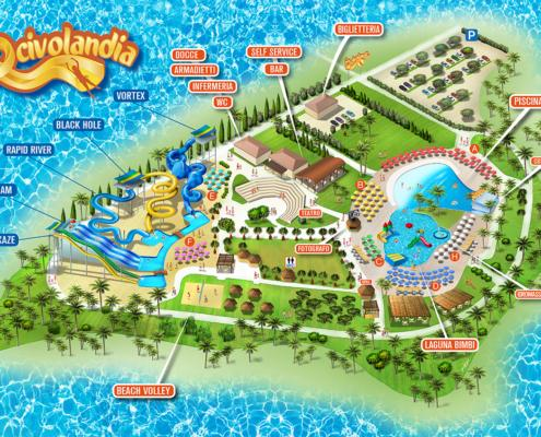 Mappa Parco Acquatico Scivolandia completa